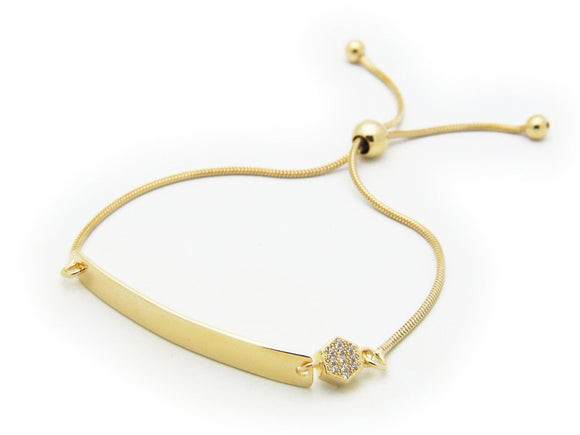 Gold Plated Engravable Sparkling Crystals ID Bracelet (Adjustable)