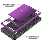 Vofolen Cover for Galaxy S10 Plus Case S10+ Wallet Card Holder ID Slot Sliding Hidden Pocket Anti-Scratch Dual Layer Protective Hard Shell Rugged TPU Bumper Armor for Samsung Galaxy S10 Plus (Purple)