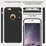 iPhone 6s Case, TORRAS [Love Series] Liquid Silicone Rubber iPhone 6 6S Shockproof Case with Soft Microfiber Cloth Cushion (4.7 inches))- Black