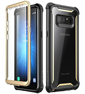 Samsung Galaxy Note 8 case, i-Blason [Ares] Full-body Rugged Clear Bumper Case with Built-in Screen Protector for Samsung Galaxy Note 8 2017 Release (Black/Gold)