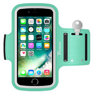 "Trianium Armband for Smaller Phone Sport Running Pouch Case Fit phone diagonal size up to 5.85"" For iPhone 7 6s 6, iPhone SE 5S 5 5C, Galaxy s8 s7 s6 s5 [ArmTrek Classic Mint]"