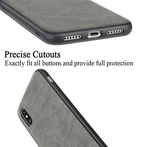 differently eeafa c7be0 iPhone X case/iPhone 10 case Salawat Slim Shock Proof Phone Cover  Lightweight Premium PU Leather TPU Bumper PC Protection for iPhone X  5.8inch(Gray)