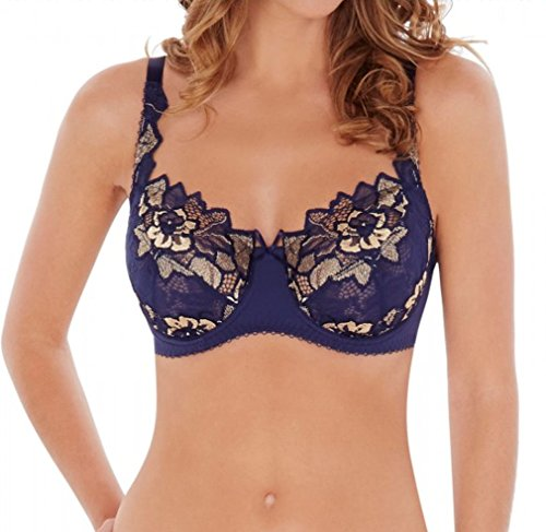 Lepel 93229 Fiore Underwired Lace Full Cup Non Padded Full Coverage Bra Navy Gold 30D
