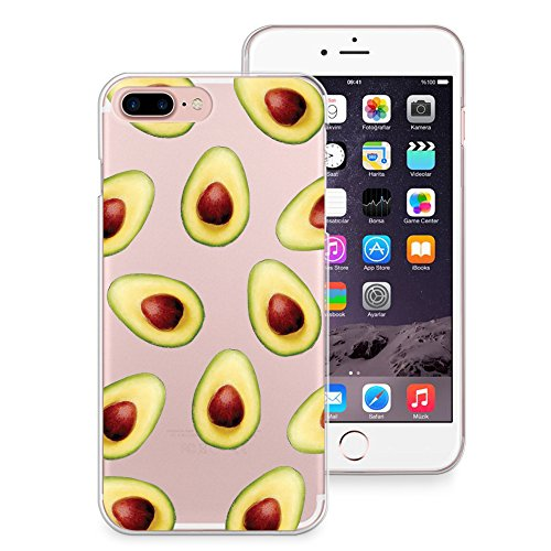 newest a74e9 29f55 iPhone 8 Plus Case, iPhone 7 Plus Case, CasesByLorraine Avocado Pattern  Clear Transparent Case Fruits Slim Hard Plastic Back Cover for Apple iPhone  7 ...
