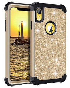 on sale 2f825 03391 Casetego Compatible iPhone XR Case,Glitter Sparkle Bling Three Layer Heavy  Duty Hybrid Sturdy Shockproof Protective Cover Case for Apple iPhone XR ...