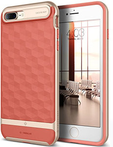 iPhone 7 Plus Case / iPhone 8 Plus Case, Caseology [Parallax Series] Slim Protective Textured Geometric Cover Drop Protection for Apple iPhone 7 Plus (2016) / iPhone 8 Plus (2017) - Coral Pink