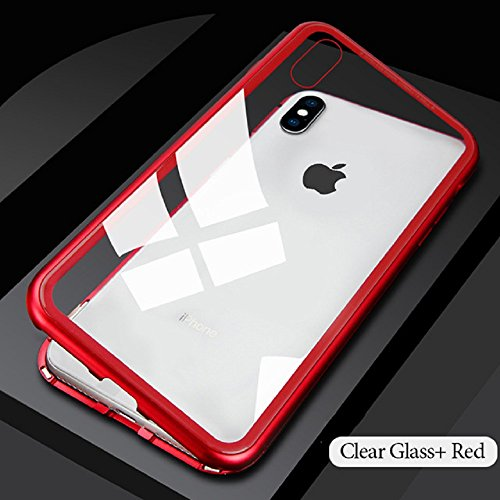 iPhone X Case, iPhone 10 Case, Plainmarsh Ultra-Thin Lightweight Case Magnetic Adsorption Tempered Glass Back Alloy Frame Support Wireless Charging (Red, iPhone X,5.8 Inch)