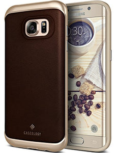 Galaxy S7 Edge Case, Caseology [Envoy Series] Slim Premium PU Leather Dual Layer Protective Corner Cushion Design [Leather Brown] for Samsung Galaxy S7 Edge (2016)