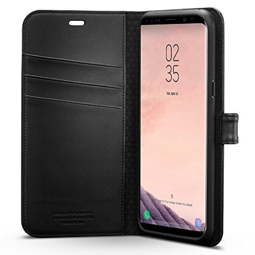 Spigen Wallet S Galaxy S8 Plus Case with Foldable Cover and Kickstand Feature for Galaxy S8 Plus (2017) - Black