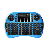 Rii i8+ 2.4GHz Mini Wireless Keyboard with Touchpad Mouse, LED Backlit, Rechargable Li-ion Battery-Blue (i8+B)