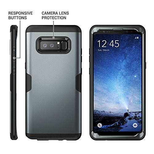 purchase cheap 12f8a 9eb9d Galaxy Note 8 Case, YOUMAKER Metallic Black Full Body Heavy Duty Protection  Shockproof Slim Fit Case Cover for Samsung Galaxy Note 8 (2017 Release) ...
