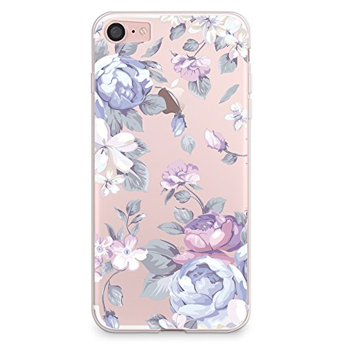 iPhone 8 Case, iPhone 7 Case, CasesByLorraine Purple Floral Flower Clear Transparent Case Flexible TPU Soft Gel Protective Cover for Apple iPhone 7 & iPhone 8 (I33)