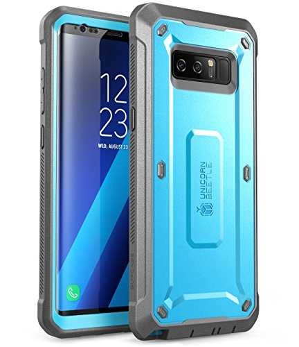 Samsung Galaxy Note 8 Case, SUPCASE Full-body Rugged Holster Case with Built-in Screen Protector for Galaxy Note 8 (2017 Release), Unicorn Beetle Shield Series - Retail Package (Blue/Gray)