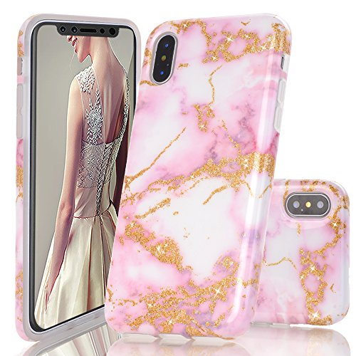 iPhone X Case,DOUJIAZ Luxury Bling Sparkly Yellow Gold Metalli & Pink Marble Design Clear Bumper TPU Soft Case Rubber Silicone Skin Cover for for iPhone X (2017)
