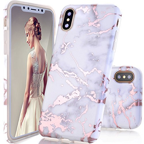 iPhone X Case,DOUJIAZ Shiny Rose Gold Metallic White Marble Design Clear Bumper TPU Soft Case Rubber Silicone Skin [Support Wireless Charging]Cover for iPhone X (2017)