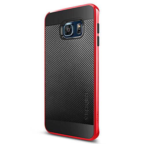 Spigen Neo Hybrid Carbon Galaxy S6 Edge Plus Case with Carbon Fiber Design and Reinforced Hard Bumper Frame for Galaxy S6 Edge Plus 2015 - Dante Red