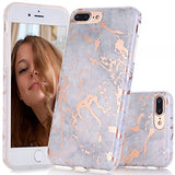 iPhone 7 Plus Case, Rose Gold Grey Marble Design Case, BAISRKE Slim Flexible Matte Soft TPU Bumper Shockproof Rubber Silicone Skin Cover Case for Apple iPhone 7 Plus 5.5 inch