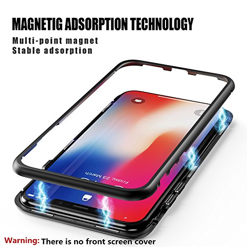 c9de5fee06 ... iPhone X Case, ZHIKE Magnetic Adsorption Case Ultra Slim Metal Frame Tempered  Glass with Built ...