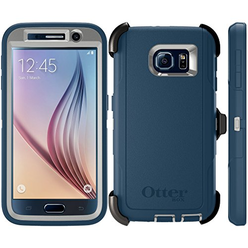OtterBox Defender Series Case for Samsung Galaxy S6 - Retail Packaging - Casual Blue/Powder Grey/Blue