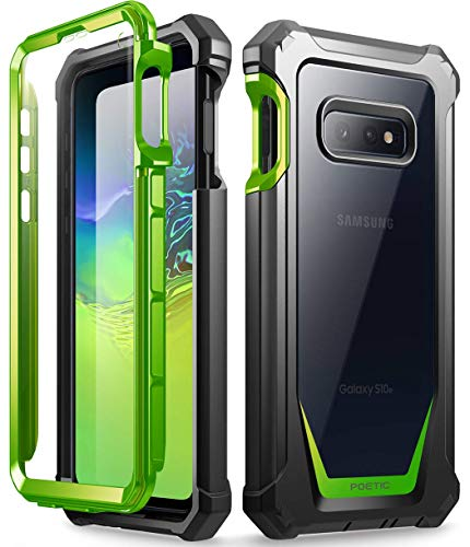Galaxy S10e Rugged Clear Case, Poetic Full-Body Hybrid Bumper Cover, Support Wireless Charging, Includes Built-in-Screen Protector, Guardian Series, Case for Samsung Galaxy S10e 2019, Green