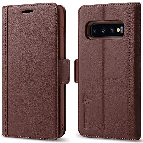 Galaxy S10 Plus Wallet Case [3D Full Cover] AUNEOS Premium Leather Case for Samsung Galaxy S10 Plus (6.4'') [Genuine Leather] [Card Slot] Magnetic Folio Flip Case for S10+ (S10Plus(6.4''), Brown)