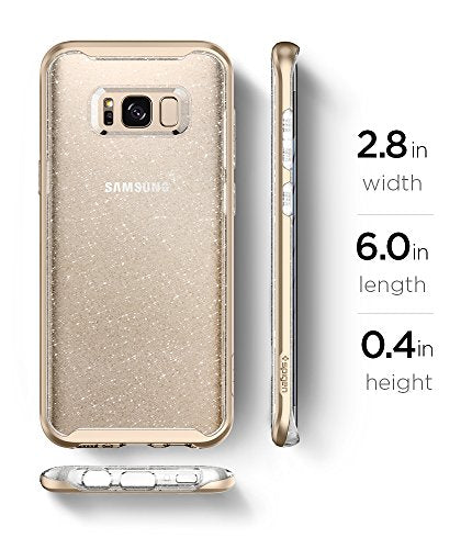 new product 6df37 2b507 Spigen Neo Hybrid Crystal Galaxy S8 Case with Flexible Inner Casing and  Reinforced Hard Bumper Frame for Samsung Galaxy S8 2017 - Glitter Gold  Quartz