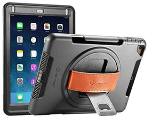iPad Case, iPad Air Case, New Trent Gladius Rugged Kickstand Case for Apple iPad Air, iPad Air 2, iPad Pro 9.7 inch, iPad 5th Gen (2017) with 360 Degree Rotatable Leather Hand Strap