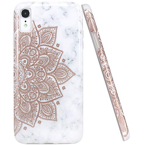 JAHOLAN Compatible iPhone XR Case Shiny Rose Gold Mandala Flower Marble Design Clear Bumper TPU Soft Rubber Silicone Cover Phone Case for iPhone XR 2018 6.1 inch