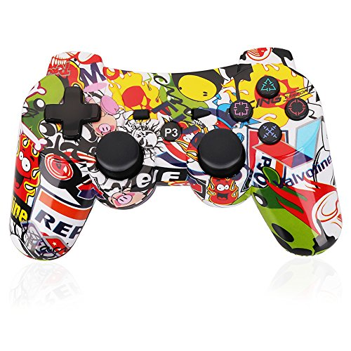 PS3 Controller Wireless Dualshock3 Joystick - OUBANG Upgrade Version Patent Remote Bluetooth Gaming Sixaxis Control Gamepad Heavy-duty Game Accessories for PlayStation 3(Graffiti)