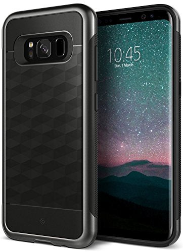 Galaxy S8 Plus Case, Caseology [Parallax Series] Slim Dual Layer Protective Textured Geometric Cover Corner Cushion Design [Black] for Samsung Galaxy S8 Plus (2017)