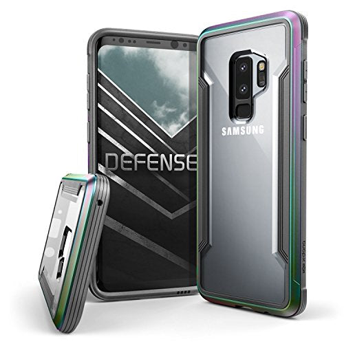 Galaxy S9 Plus Case, X-Doria Defense Shield Protective Aluminum Frame Case Thin Design Shockproof Transparent Case for Samsung Galaxy S9 Plus, Iridescent