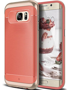 Galaxy S7 Edge Case, Caseology [Wavelength Series] Slim Dual Layer Protective Textured Grip Corner Cushion Design [Coral Pink] for Samsung Galaxy S7 Edge (2016)