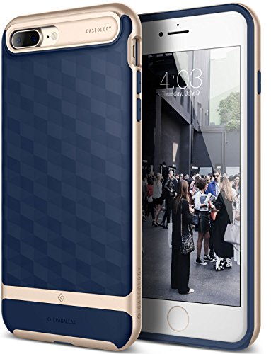 iPhone 7 Plus Case / iPhone 8 Plus Case, Caseology [Parallax Series] Slim Protective Textured Geometric Cover Drop Protection for Apple iPhone 7 Plus (2016) / iPhone 8 Plus (2017) - Navy Blue