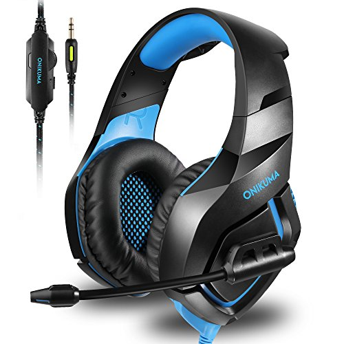 ONIKUMA Stereo Gaming Headset for PS4 Xbox One, Noise Cancelling Mic Over Ears Gaming Headphones with Microphone for Nintendo Switch PlayStation 4 Laptop Smartphones and PC