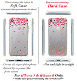 iPhone 8 Case, iPhone 7 Case, CasesByLorraine Little Pink Hearts Clear Transparent Case Slim Hard Plastic Back Cover for Apple iPhone 7 & iPhone 8 (A17)