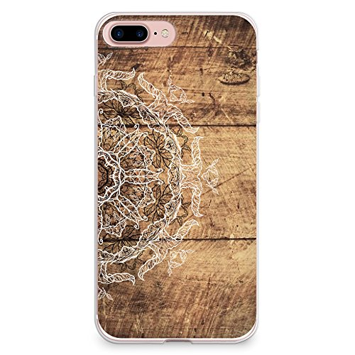 iPhone 8 Plus Case, iPhone 7 Plus Case, CasesByLorraine Wood Print Mandala Floral Henna Pattern Case Flexible TPU Soft Gel Protective Cover for Apple iPhone 7 Plus & iPhone 8 Plus (S04)