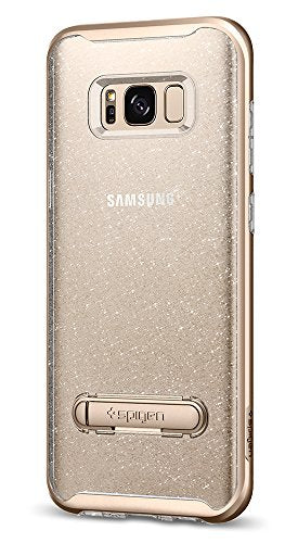Spigen Crystal Hybrid Galaxy S8 Plus Case with Water-Mark TPU and Magnetic Metal Kickstand for Galaxy S8 Plus (2017) - Glitter Gold Quartz