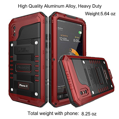 size 40 6d5ac da509 iPhone X Waterproof Case, Beasyjoy Heavy Duty Hard Strong Metal Cover with  Built-in Screen Full Body Protection Shockproof Tough Rugged Durable ...