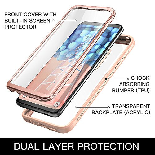 newest 3757e e9579 Galaxy S9+ Plus Case, YOUMAKER Crystal Clear with Built-in Screen Protector  Full-body Heavy Duty Protection Slim Fit Shockproof Case Cover for Samsung  ...