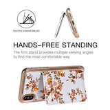 iPhone X Case,iPhone X Wallet Case,Premium PU Leather Flower Floral Back Folio Flip Wallet Cases Magnetic Holster Phone Case for iPhone X 5.8 inch (2017 Release) with stand,3 Card Slots-White&Orange