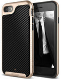 iPhone 7 Case, iPhone 8 Case, Caseology [Envoy Series] Slim Premium PU Leather Dual Layer Protective Corner Cushion Design for Apple iPhone 7 (2016) / iPhone 8 (2017) - Carbon Fiber Black