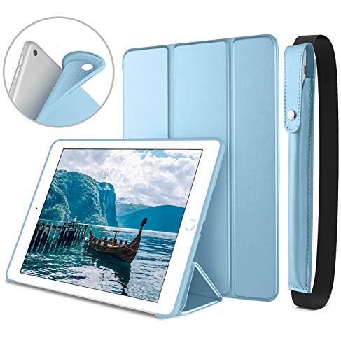 DTTO New iPad 9.7 Inch 2018/2017 Case with Apple Pencil Holder, Ultra Slim Smart Case with Trifold Stand and Soft TPU Back Cover for Apple iPad 5th / 6th Generation [Auto Sleep/Wake] - Sky Blue