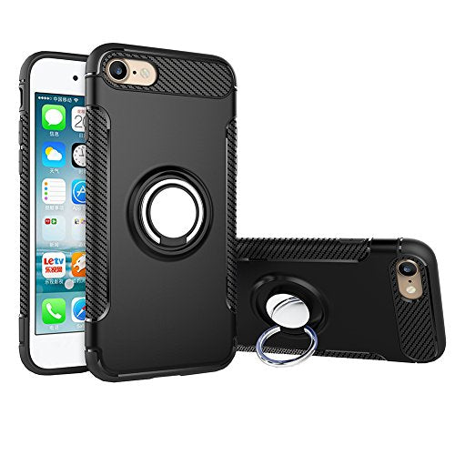 For iPhone 6S Plus Case,CHEEDAY [Newest] Rugged 2 in 1 Case with Ring Holder Kickstand Drop Protection Cover Soft Rubber Bumper Case for Apple iPhone 6 Plus / iPhone 6S Plus (Black)