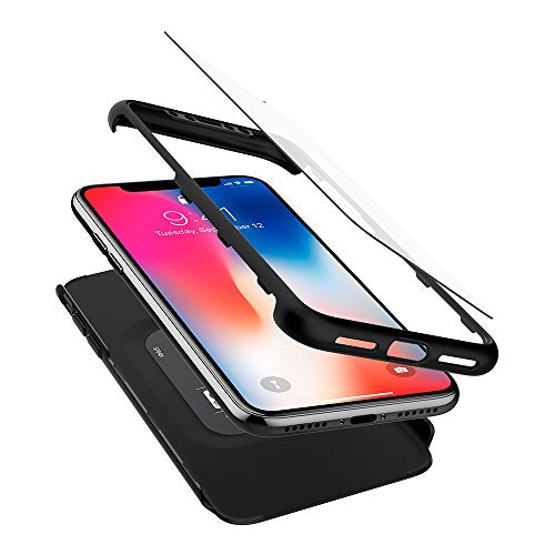 huge discount 49465 09335 Spigen Thin Fit 360 iPhone X Case with Exact Slim Full Protection with 2  Packs of Tempered Glass Screen Protector for Apple iPhone X (2017) - Black