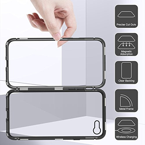 online retailer 23b44 a498f iPhone 6 Plus Case,iPhone 6s Plus Case, ZHIKE Magnetic Adsorption Case  Ultra Slim Metal Frame Tempered Glass Back with Built-in Magnet Flip Cover  for ...