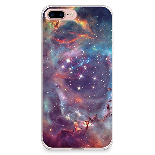 iPhone 8 Plus Case, iPhone 7 Plus Case, CasesByLorraine Galaxy Space Stardust Purple Sky Flexible TPU Soft Gel Protective Cover for Apple iPhone 7 Plus & iPhone 8 Plus (I20 Style 2)