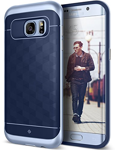 Galaxy S7 Edge Case, Caseology [Parallax Series] Slim Premium PU Leather Dual Layer Protective Corner Cushion Design [Navy Blue & Blue Coral] for Samsung Galaxy S7 Edge (2016)