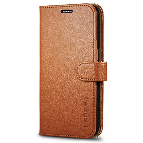 Spigen Wallet S Galaxy S6 Case with Foldable Cover and Kickstand Feature for Samsung Galaxy S6 2015 - Brown