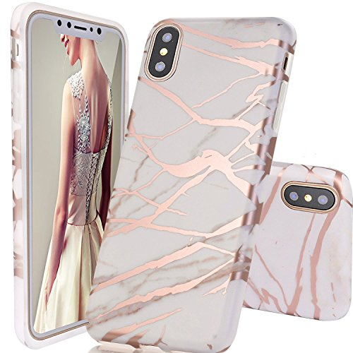 iPhone X Case,DOUJIAZ Rose Gold Metallic & White Marble Design Clear Bumper TPU Soft Case Rubber Silicone Skin Cover for iPhone X (2017)