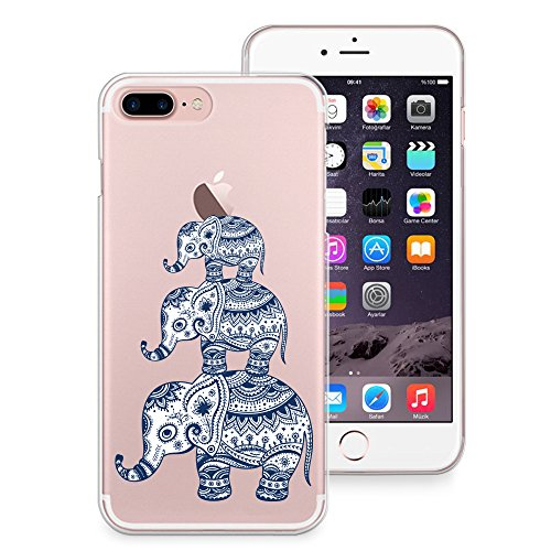 info for 69e88 80af7 iPhone 8 Plus Case, iPhone 7 Plus Case, CasesByLorraine Aztec Elephant  Clear Transparent Case Slim Hard Plastic Back Cover for Apple iPhone 7 Plus  & ...